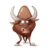 Funny, cute, crazy cartoon bull.