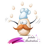 Funny, cute, crazy egg with mustache, whisker