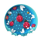 Ladybug illustration. Cartoon paperlandscape. Leaf, cloud, star.