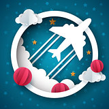 Airplane illustration. Cartoon cloud, star landscape.