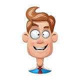 Funny, cute, cartoon man illustration. Happy smiley.