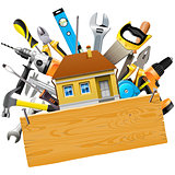 Vector Construction Tools with House