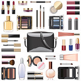 Vector Makeup Cosmetics with Black Handbag