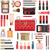 Vector Makeup Cosmetics with Red Handbag