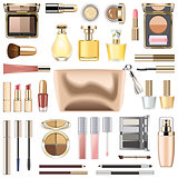 Vector Makeup Cosmetics with Golden Cosmetic Bag