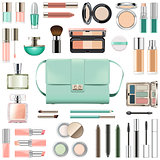 Vector Makeup Cosmetics with Mint Green Handbag