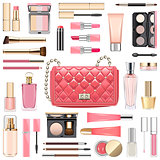 Vector Makeup Cosmetics with Pink Handbag