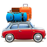 Vector Red Car with Baggage