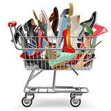 Vector Shopping Cart with Shoes