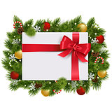 Vector Christmas Fir Branches with Gift