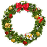 Vector Christmas Wreath with Garland