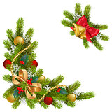 Vector Fir Corner with Decorations