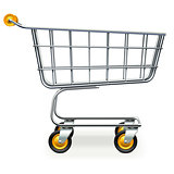 Vector Empty Supermarket Trolley with Yellow Wheels