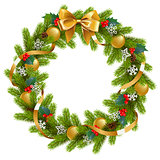 Vector Fir Wreath with Mistletoe