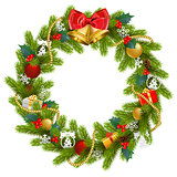 Vector Fir Wreath with Red Mistletoe