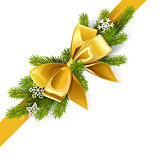 Vector Gold Bow with Fir Branch
