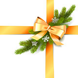 Vector Golden Bow with Fir Branch