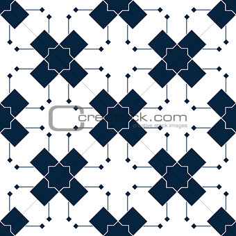 Blue islamic pattern. Oriental tartan texture. Geometric floral seamless pattern. Abstract background. Winter ornament. Vintage wallpaper.