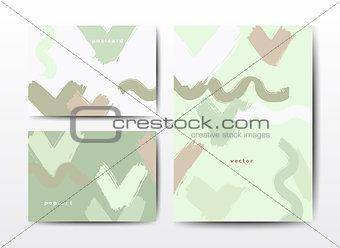 Modern grunge brush postcards