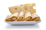 pancakes with cheese are isolated on a white background