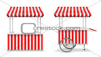 Realistic set of street food kiosk and cart with wheels. Mobile red market stall template. Farmer kiosk shop mockup. Vector illustration
