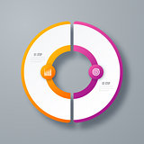 Infographics template 2 options with circle