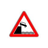 Triangular isolated sign for water warning