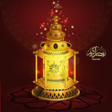 Vector Ramadan kareem vector greetings design with lantern or fanoos mock up with red background.