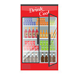 Refrigerated supermarket display case full with multiple drinks and beverages. Illustrated vector for your Mockup design.