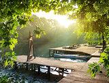 Resort near river