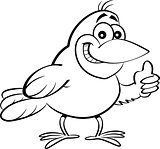 Cartoon Bird Giving Thumbs Up