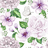 Apple tree flowers, hydrangea flowers,petals and leaves in watercolor style on white background. Seamless pattern for textile, wrapping paper, package,
