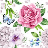 Apple tree, roses, hydrangea flowers petals and leaves in watercolor style on white background. Seamless pattern for textile, wrapping paper, package,