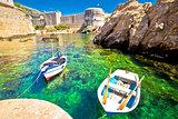 Green sea under Dubrovnik city walls view