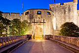 Pile gate entrance in town of Dubrovnik evening view