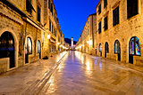 Famous Stradun street in Dubrovnik night view