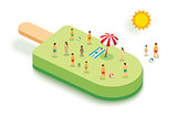 Ice cream for summer. Vacation concept with people on green back