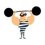 Funny cartoon circus strong man. A strong muscular athlete lifts the barbell. Retro sportsman with a mustache. Flat vector guy character with heavy metal barbell. Bodybuilder