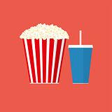 Cinema concept vector popcorn illustration