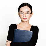 young beautiful Asian businesswoman wearing eyeglasses with folder for papers