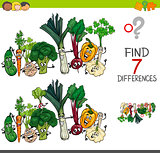 find differences game with vegetables characters