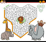 cartoon maze activity with safari animal characters