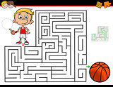 cartoon maze activity with boy and basketball