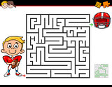 cartoon maze activity with boy and football