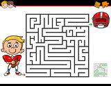 cartoon maze activity with boy and football