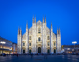 MILAN, ITALY - APRIL 28th, 2018: turists during blue hour taking