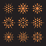 Logo sun template. Smart virus signs. Unusual isolated sunny circles icons set. Network community logotype collection. Orange vector illustration, abstract digital art pattern. Black background.