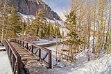 View of bridge and frozen Twin Lake in Tamarack, Mammoth Lakes,