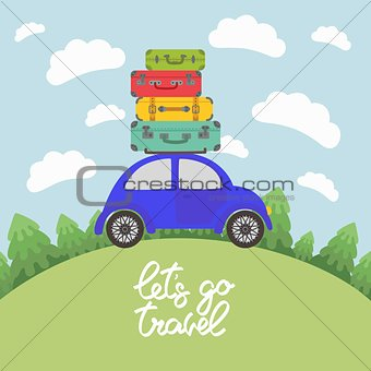 Blue car with luggage on the roof for long vacation road trip