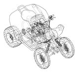 ATV quadbike concept outline. Vector